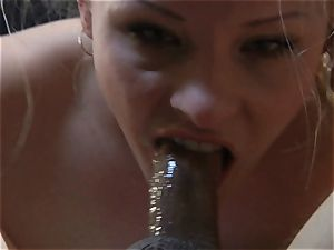 petite blonde hotwife displays her blowjob and fellate