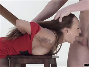 aggressive X - Model smashes his bitchy painter