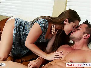 killer wifey Dani Daniels takes his giant hard-on in her fur covered pussy