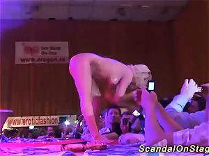 big-titted babe lapdance on public stage