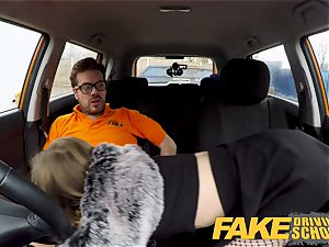 fake Driving college puny learner with smallish udders