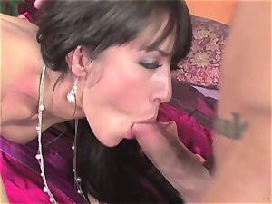 Capri Cavalli thrusts this hard stiffy down her mouth