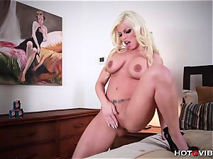 In couch with Britney Amber