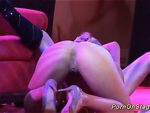 crazy lesbian orgy show on public stage
