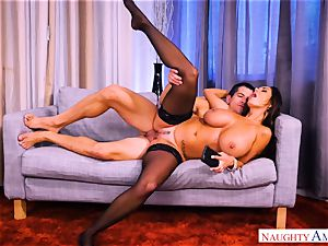 torrid cougar Ava Addams railing on top