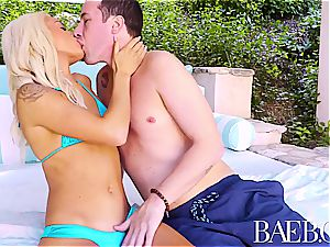 BAEB rosy beaver fucked by pool with towheaded Elsa Jean